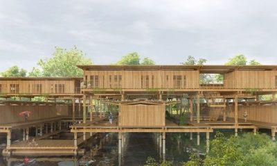 A imagem é do TFG de Danielle Gregorio. Há, em sua representação, uma construção em madeira, sendo o foco. Além disso, contém árvores - no canto inferior direito e superior esquerdo. Acompanha, também, um corpo fluvial embaixo da estrutura.